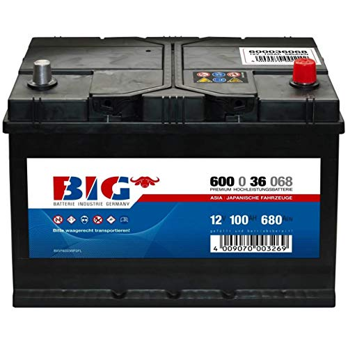 ASIA Autobatterie 12V 100Ah BIG Starterbatterie 60036 Japan Pluspol rechts 95Ah