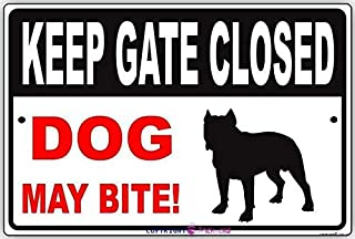 New Street Metal Tin Sign Keep Gate Closed Dog May Bite! with Graphic Animal Safety Protection Alert Attention Caution War...