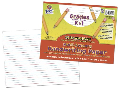 Pacon Multi-Sensory Raised Ruled Paper, Sheets, Film-Wrapped, 5/8' x 5/16' x 5/16' Ruled 11' x 8-1/2', Ruled Long, 100 Sheets