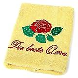 Abc Casa Die Beste Oma Handtuch zum Geburtstag, Namestag, Jahrestag, Valentinstag, Muttertag - Eine praktische Jubiläum Geschenkidee für die Beste Oma, Großmutter, Großmutti