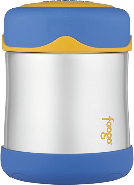 THERMOS FOOGO Vacuum Insulated Stainless Steel 10 Ounce Food Jar Blue Yellow
