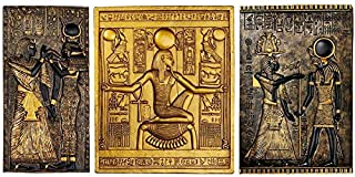 Design Toscano Egyptian Temple Steles Tutankhamen, Isis and Horus Wall Sculpture Plaques, 10 Inch, Set of Three, Black and Gold