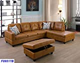 Lifestyle Furniture Right Facing 3PC Sectional Sofa Set,Faux Leather,Ginger(LSF09517B)