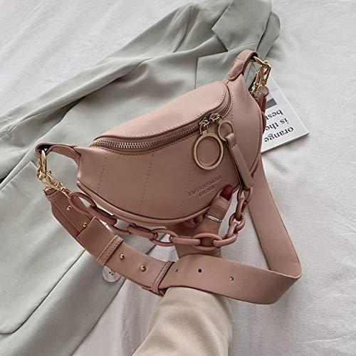 Mdsfe New Messenger Bag Lady Letter Chain One Shoulder Chest PU Leather Handbag Wide Belt Japanese Handbag - Pink, 23.5cmx12cmx7.5cm