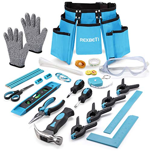 REXBETI 87pcs Young Builder's Tool Set with Real Hand Tools, Reinforced Kids Tool Belt, Waist 20
