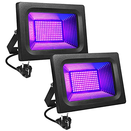 LITAKE UV LED Luz Negra, 30W Violeta Foco UV Ultravioleta, IP65 Impermeable Blacklights 395-400nm UV Led Luz de Inundación para Halloween, Acuario,...