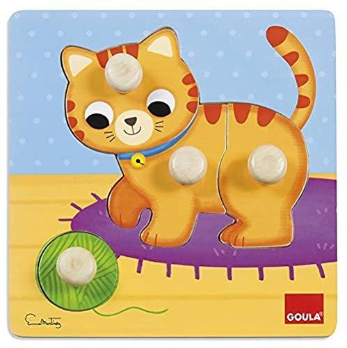 Goula- Puzzle gato de madera, 22 x 22 cm (53053) , color/modelo surtido