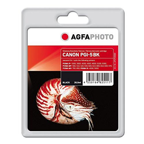 AgfaPhoto APCPGI5BD PGI-5 BK mit Chip Druckerpatrone für Canon, schwarz