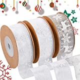 3 Pieces Christmas Ribbon Snowflake Sheer Ribbon Grey Snowflake Deer Pattern Craft Ribbon Trim Snowflake Tulle Rolls for Cake Wrapping Tape Christmas Party Decor, 1 Inch x 11 Yards