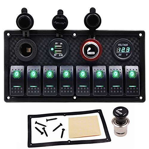 Marine Switch Panel for Boat 8 Gang Rocker Toggle Switches Waterproof with 3.1A Dual USB Power Charger Digital Voltmeter 12V Green LED Light Auxiliary Switch Panel ON/Off for Car Truck RV SUV