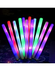 15 color LED lamppost, reusable, multi-color flash lamp effect rod discoloration foam stick flash lamp, used for party products, festivals, carnival, birthday, Party toys (1 pack)