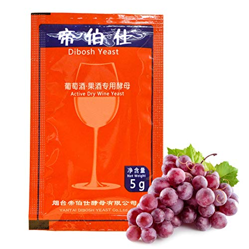 Makeover Levadura de Vino para fermentación, 5g Levadura de Vino Natural Levadura de Vino Activa Levadura Seca para 25 kg de Alcohol de UVA Levadura Seca Activa Licor