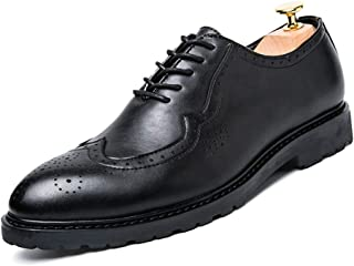 2019 Mens New Lace-up Flats Men's Brogue Carving Microfiber Leather Wingtip Lace Up Round Toe Classic Modern Business Casual Dress Shoes