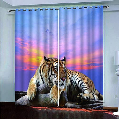 LAMPWF Verdunkelungsvorhang Tiger im Sonnenuntergang Gardinen Schlafzimmer Vorhang Blickdicht Blickdicht Gardinen für Schlafzimmer Kinderzimmer,Wohnzimmer166x150 cm 2er Set