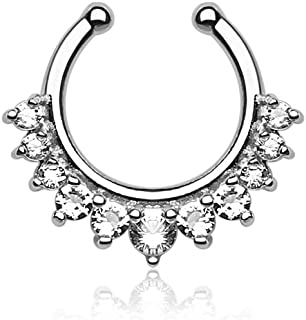 Silver-Tone Fake Septum Clicker Clip On Non Piercing Nose Ring Hoop CZ CHOOSE YOUR COLOR