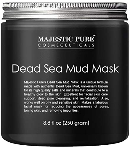 MAJESTIC PURE Dead Sea Mud Mask - Natural Face and Skin Care for Women and Men - Best Black Facial Cleansing Clay for Blackhead, Whitehead, Acne and Pores - 8.8 fl. Oz