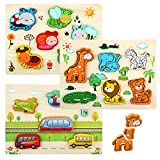 LinStyle Puzzles de Madera, Montessori Puzzle de Madera, Rompecabezas Madera Niños Preescolar Juegos y Juguetes Educativos Include Animales, Vehículos y Insectos para 1 2 3 años Niños
