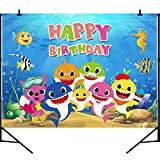 Panrock Shark Backdrop for Birthday Party Supplies, Cartoon Whale Ocean Photo Background Banner for Baby Shower Decoration-5X3 FT(Shark)