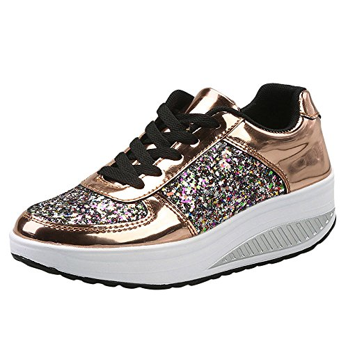 Damen Sneaker Glitzer Pailletten Lack Elegant Schnürung Schuhe Frauen Dicker Sportschuhe(Gold,40)
