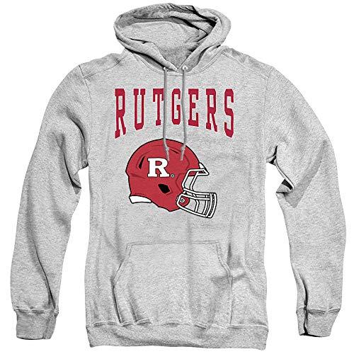 Rutgers University Official Football Helmet Unisex Adult Pull-Over Hoodie, Athletic Heather, X-Large