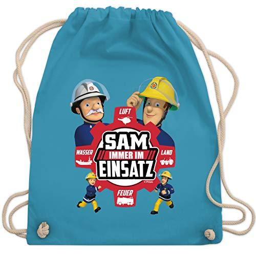 Shirtracer Feuerwehrmann Sam Tasche - Sam - Immer im Einsatz - rot - Unisize - Hellblau - Feuerwehr - WM110 - Turnbeutel und Stoffbeutel aus Baumwolle