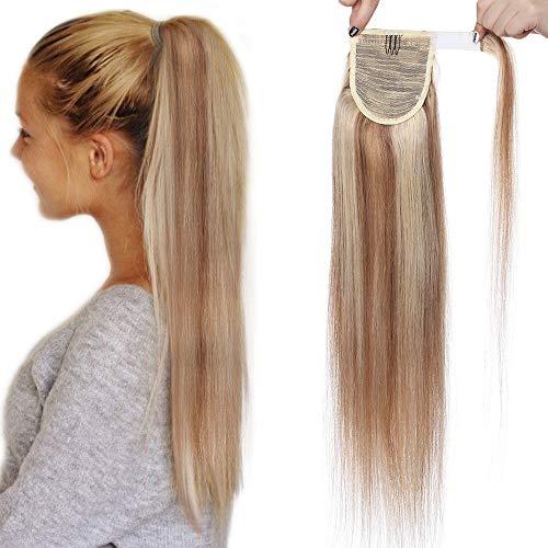 Coda Extension Capelli Veri Clip Code di Cavallo Fascia Unica Ponytail Extensions 100% Remy Human Hair Umani Naturali 95g (55cm #12P613 Castano Oro mix Biondo Chiarissimo)