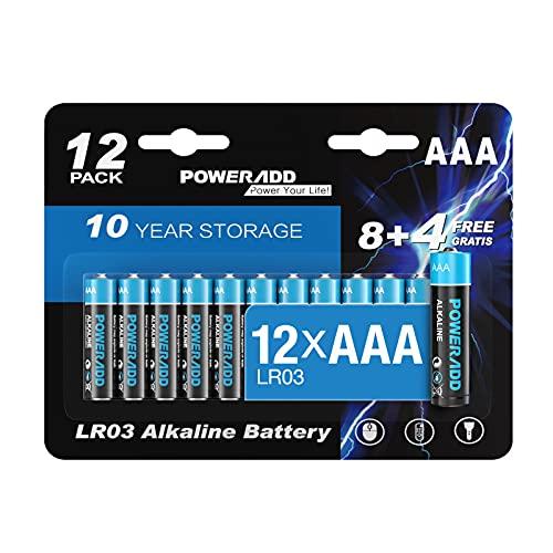 Pilas AAA POWERADD Micro alcalinas AAA 12 unidades, LR03 1,5 V, 10 años de duración para mando a distancia, radio, despertador y reloj