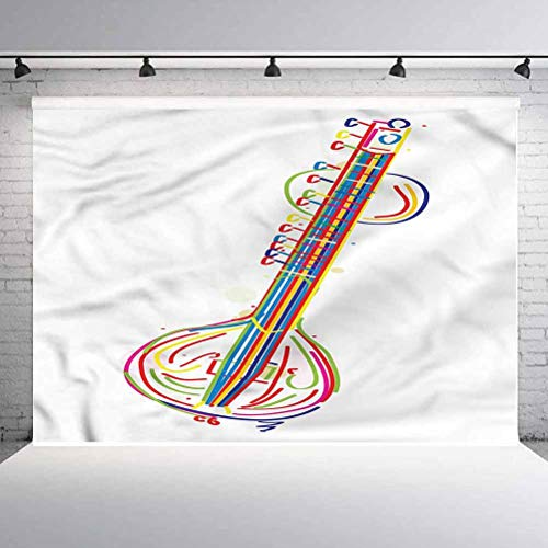 6x6FT Vinyl Wall Photography Backdrop,Sitar,Far Exotic Beat Background for Baby Shower Bridal Wedding Studio Photography Pictures