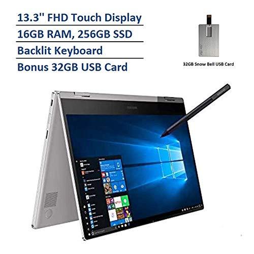 "2020 Samsung Notebook 9 Pro 2-in-1 13.3"" FHD Touchscreen Laptop Computer, Intel Core i7-8565U Processor, 16GB RAM, 256GB SSD, Backlit Keyboard, Windows 10, Platinum, 32GB Snow Bell USB Card"