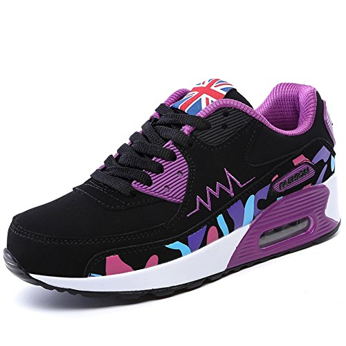PADGENE Femme Baskets Mode Chaussures Sport Course Sneakers Fitness Gym athlétique Multisports Outdoor Casual,Noir Violet,36 EU