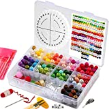 Embroidery Floss with Organizer Box Friendship Bracelet Kit - Cross Stitch Kit Embroidery Thread with Storage Box Set. Friendship Bracelet String Color Chart Beads Weave Wheel Scissors Needles Thimble