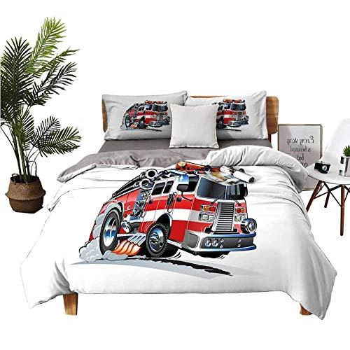 SmallNizi Bed Sheets Queen Truck Security of The Public Themed Speeding Vehicle Fire Department Dangerous Job Bed Cover