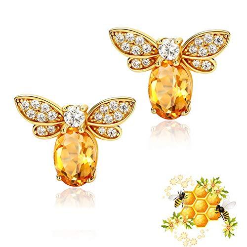 Wacelethh Oorbellen van sterling zilver Honey Queen Bee Dieren idee geschenk voor vrouwen meisjes