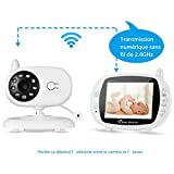 Sans fil 3,5 '' Moniteur numérique pour bébé WIFI Caméra de surveillance 2,4 GHz Babyphone...