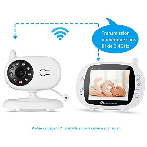 """Bebé Monitor, Vigilabébé Inalambrico con Cámara y LCD 3,5"""", Intercomunicador+Visión Nocturna+Monitoreo de Temperatura+Canción de Cuna(Manual Español)"""