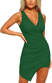 Women's Casual Sleeveless Ruched Cocktail Party Dresses Bodycon Mini Sexy Club Dress