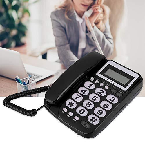 DAUERHAFT Set di Interni Telefono con Filo Durevole con cancellazione del Rumore con segreteria telefonica Come calcolatrice Telefono Fisso Display LCD con Filo, per uffici Domestici(Black)