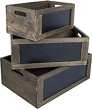 ESSENTIAL EVERYDAY PRODUCTS Rustic Brown Wood Nesting Storage Crates with Chalkboard Front Panel and Cut Out Handles, Set of