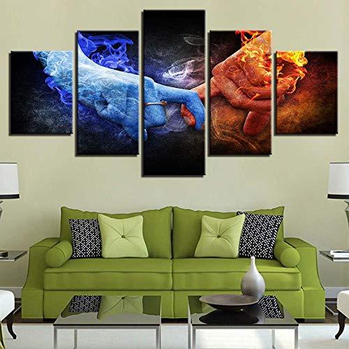GZSBYJSWZ Obra de Arte, Pintura de Pared Impresa en HD, 5 Piezas, Cuaderno, Lupa, Lienzo, Cuadros, póster Modular, decoración, Dormitorio, Estudio