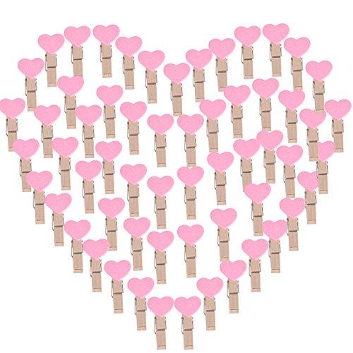 AONER 100 STK Mini Holzklammern Herz Klammern Holz Deko Klein Wäscheklammern Dekoklammern Holzwäscheklammern Zierklammern (Hellrosa)