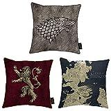 Conjunto de 3 Cojines Juego de Tronos Mapa de Poniente Casa Lannister Casa Stark 38 x 38 cm Cojines Almohada de Felpa Impresa con Almohadilla incluida Idea de Regalo Oficial para Fans