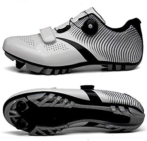 KUXUAN Zapatillas De Ciclismo MTB para Hombre,Zapatillas De Ciclismo De Montaña con Candados Zapatillas Deportivas De Invierno para Hombre Y Mujer/Suelas De Nailon,White-EU37