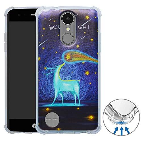 YuChen LG K8 /LG Aristo Funda, 3D Dibujos Ultrafina Silicona Gel Suave TPU Bumper Diseño de Protección Caso Cover para LG K8 2017 /LG Aristo /LV3 /MS210(Not fit LG K9),Deer & Starry