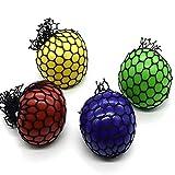 4 bolas blandas de malla para aliviar el estrés, bolas de presión, juguetes de descompresión para adultos y niños