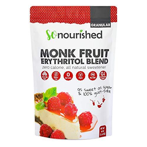 Monk Fruit Sweetener with Erythritol Granular - 1:1 Sugar Substitute, Keto - 0 Calorie, 0 Net Carb, Non-GMO (Non-Organic, 2.5 Pounds)