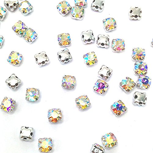 Greatdeal68 3mm to 8mm Glass Rhinestone Sew-on silver settings with 4 holes Crystal/ Crystal AB/ Color (4mm 100pcs, Crystal AB)