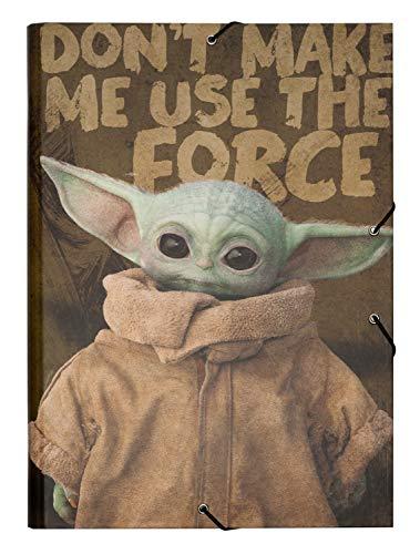 Grupo Erik - Carpeta clasificadora de 12 compartimentos Baby Yoda, Grogu, The Mandalorian, Star Wars, 25x34 cm