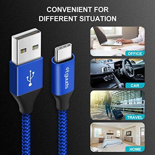 etguuds USB C Kabel [1.8m/2Stück], Nylon Typ C Ladekabel und Datenkabel USB C, 3A Schnellladekabel für Samsung Galaxy S10 S20 S9 S8 + S10e, Note 8 9 10, A50 A40 A51 A41 A71 A20e, Xperia XZ, Redmi