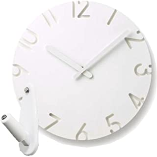 Lemnos CARVED NTL10-04 + 壁の穴が目立ちにくい時計用壁掛けフック 2点セット 掛け時計 掛時計 壁掛け時計 壁掛時計 フック おしゃれ カーヴド タカタレムノス (A Arbic)