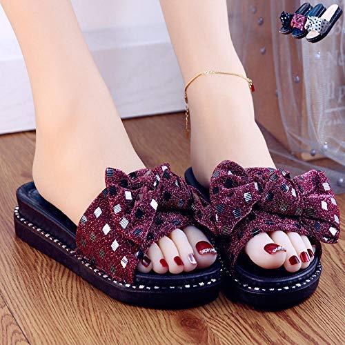 Strand slippers platte schoenen,Strik zachte bodem antislip pantoffels, draag strand sandalen buiten-rode wijn_38
